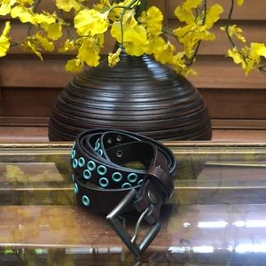 Gap Dark Brown & Aqua Grommet Leather Belt
